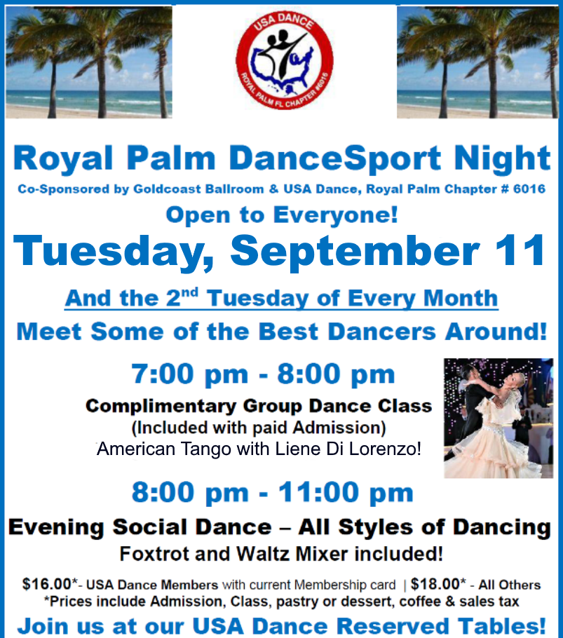 September 11, 2018 Royal Palm DanceSport Night at Goldcoast Ballroom