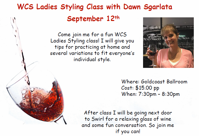 WCS Ladies Styling Class with Dawn Sgarlata - September 12, 2018