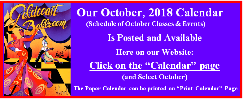 Goldcoast Ballroom October, 2018 Calendar Posted