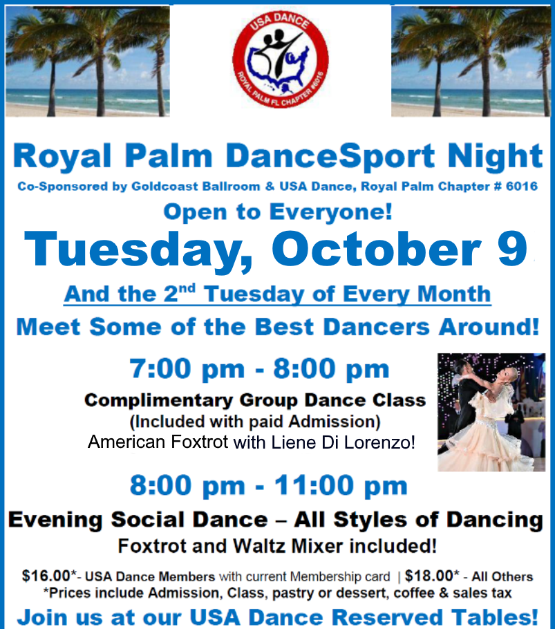 October 9, 2018 Royal Palm DanceSport Night at Goldcoast Ballroom