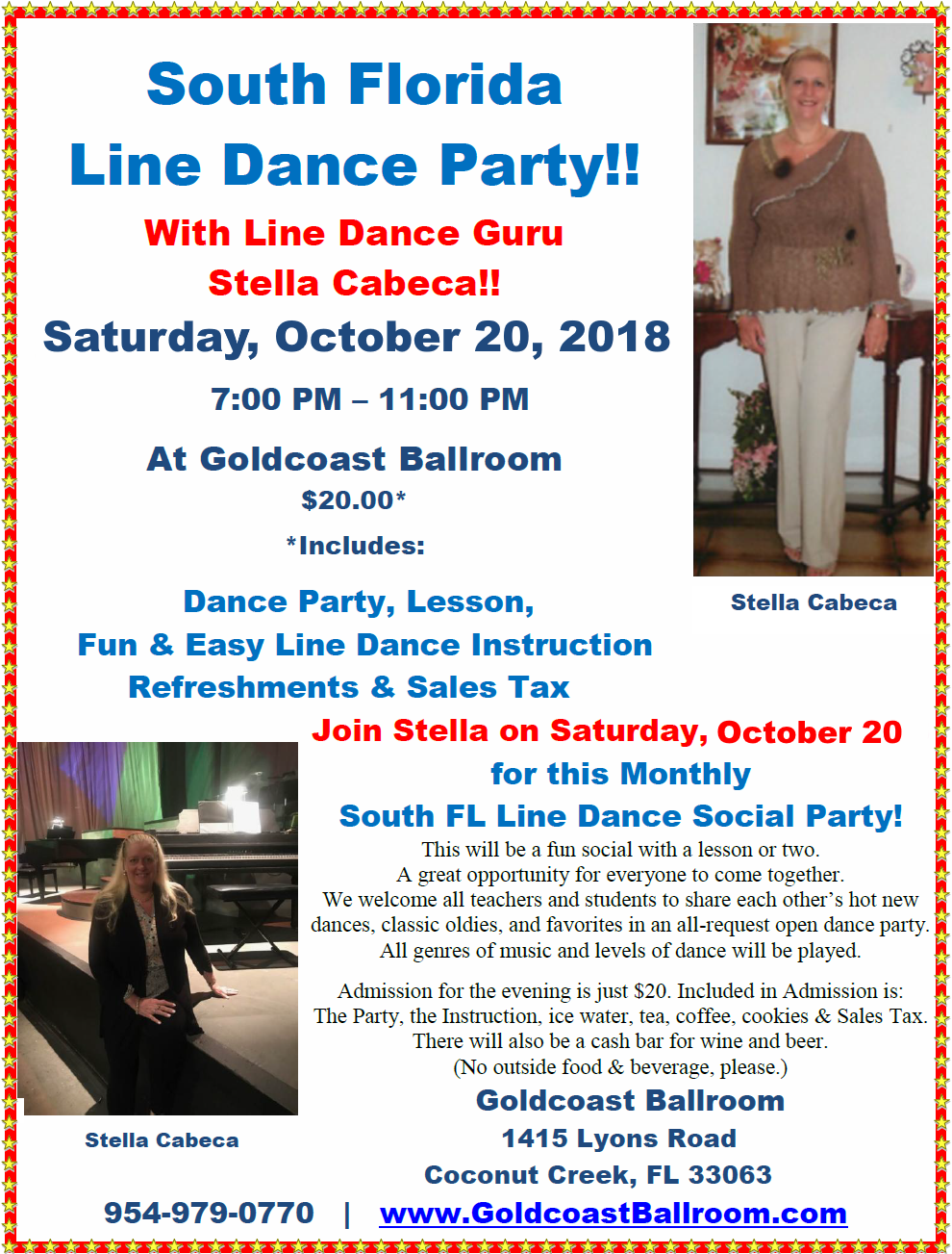 South Florida Line Dance Party - Saturday, October 20, 2018 at Goldcoast Ballroom