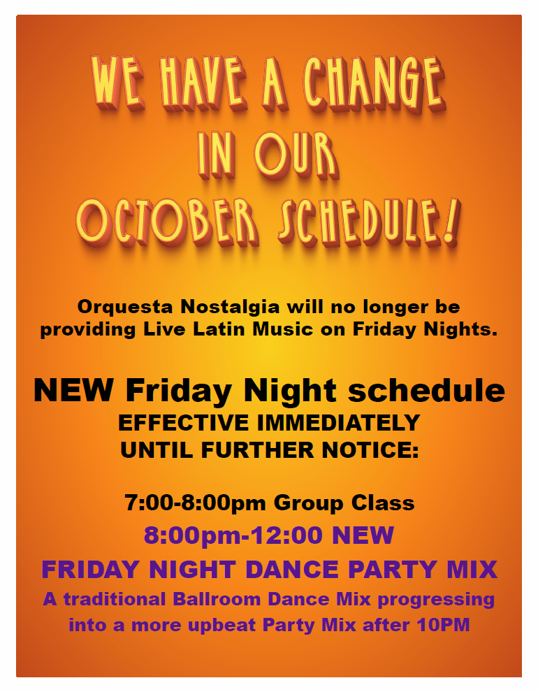 Change in Friday Night Schedule - Effective Immediately October 12, 2018