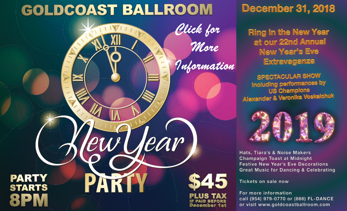 Reserve Now for Our Dazzling NEW YEAR'S EVE GALA!! – With Spectacular Show by U.S. Open Professional Ballroom Champions ALEXANDER & VERONIKA VOSKALCHUK!! – December 31, 2018 – $45.