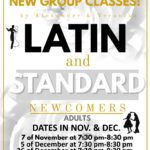 NEW GROUP CLASSES!! – LATIN & STANDARD BALLROOM FOR NEWCOMERS!! -Wednesdays, Nov 7 and Dec 5 & 26 – 7:30-8:30 PM – with US Pro Champions ALEXANDER & VERONIKA VOSKALCHUK!! – 50% Off 1st Class for First Time Students! (Click for More Info)
