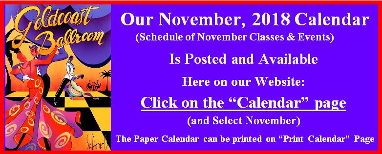 Goldcoast Ballroom November, 2018 Calendar is Posted