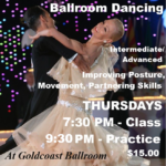 EXCITING!! VERY POPULAR CLASS!! – Training & Technique for Ballroom Dancing – with Liene & Paolo Di Lorenzo!! – Thursdays in November – 7:30 PM – 8:30 PM;   Practice Session 9:30 PM – 10:00 PM  (Included)