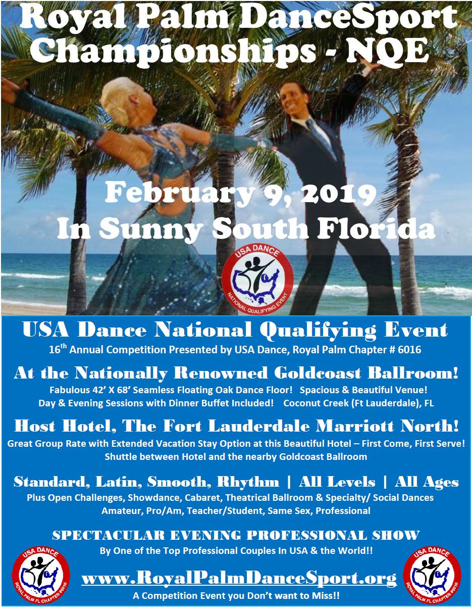 Royal Palm DanceSport Championships NQE - February 9, 2019 at Goldcoast Ballroom in Sunny South Florida!