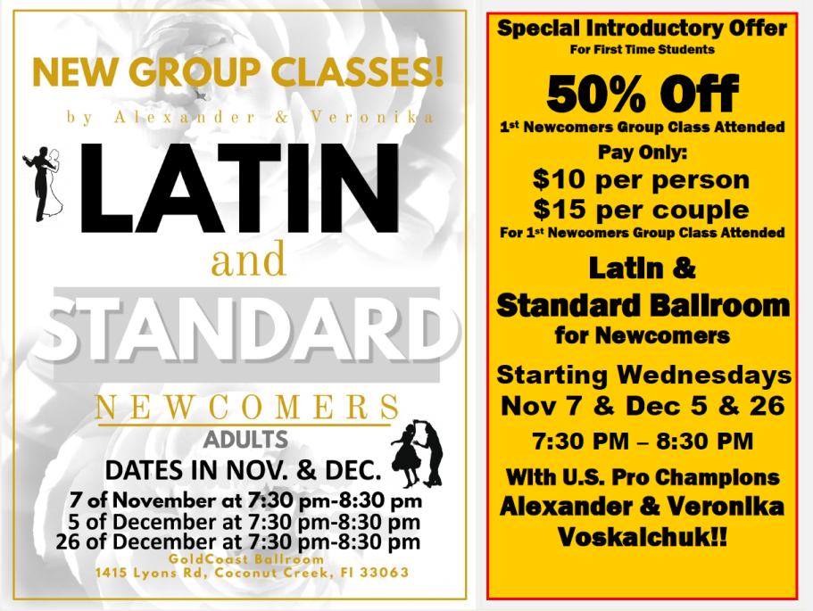 Special Introductory Offer - 50% Off 1st Newcomer's Class Attended - with Alexander & Veronika Voskalchuk
