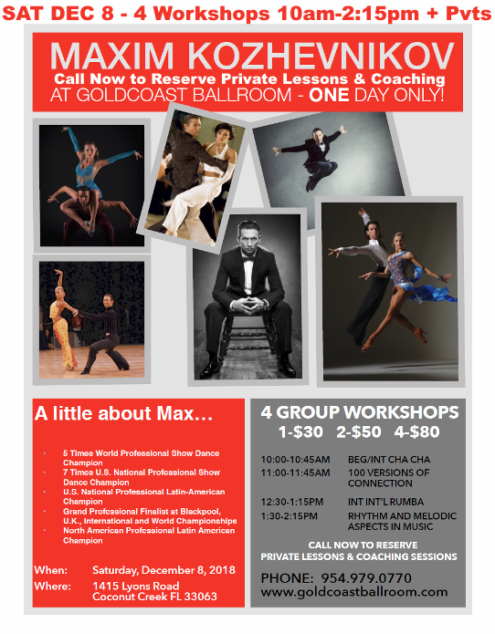 Maxim Kozhevnikov 4 Master Workshops - Saturday, December 8, 2018 at Goldcoast Ballroom! + Call Now to Schedule Private Lessons or Coaching for December 8