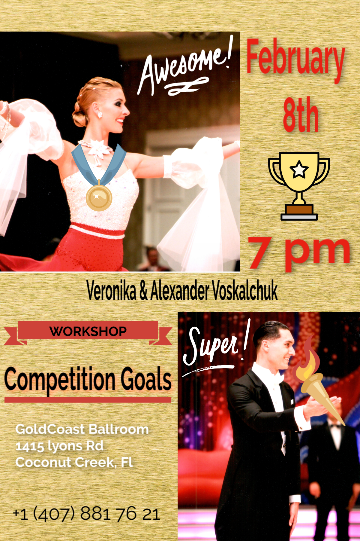 Alexander & Veronika Voskalchuk - Special Workshop on Competition Goals - Friday, February 8, 2019 - 7:00 PM - 8:00 PM