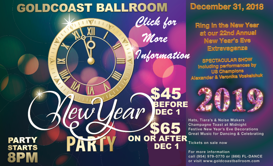 Goldcoast Ballroom New Year's Eve Gala - December 31, 2018 - $45 Before Dec 1; $65 On or After Dec 1