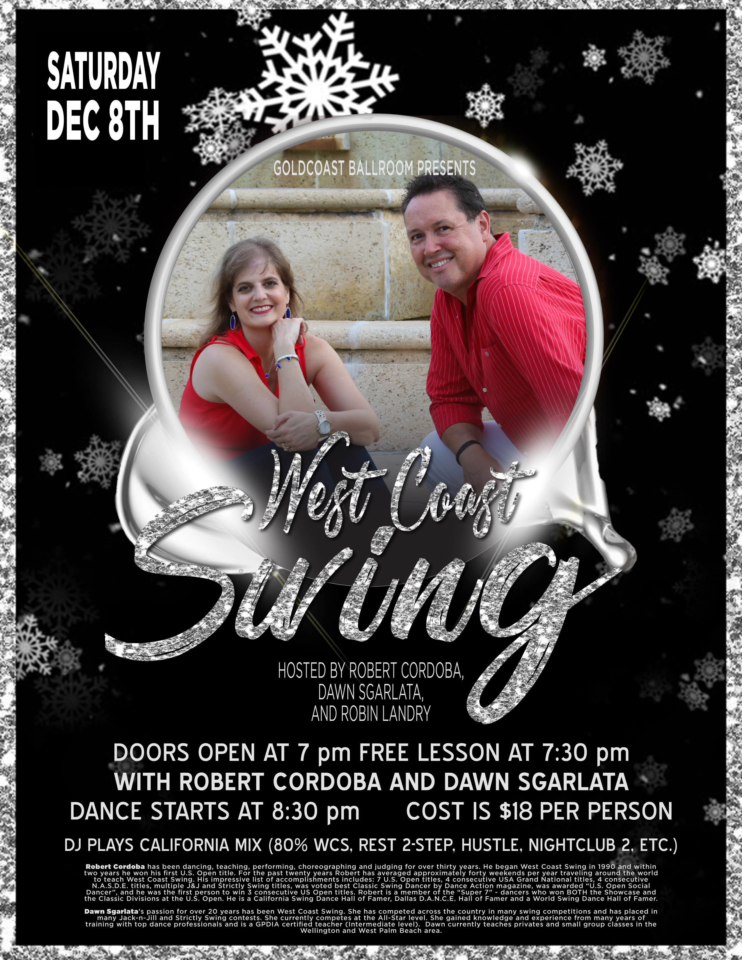 WCS Night - Saturday, December 8, 2018 - with Dawn Sgarlata & Robert Cordoba