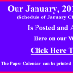 Our January 2019 Calendar of Classes & Events is Posted.  Go to our Calendar page for January