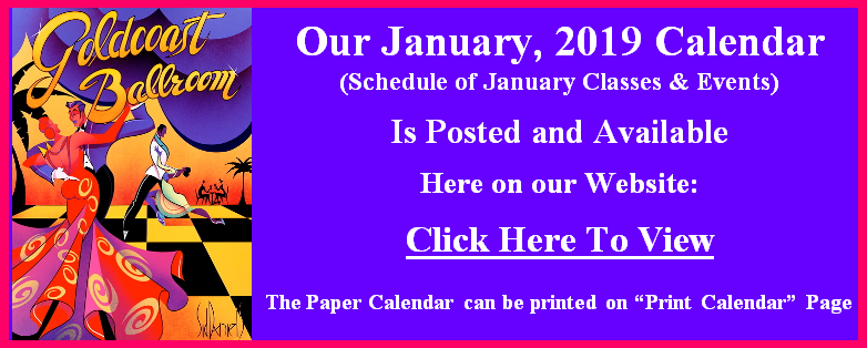 Goldcoast Ballroom January, 2019 Calendar Posted