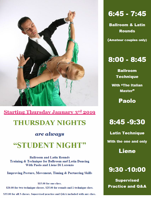 THREE VERY POPULAR CLASSES  (Int/Adv) Every Thursday Night in January – with US Professional Champions Paolo & Liene Di Lorenzo!!!