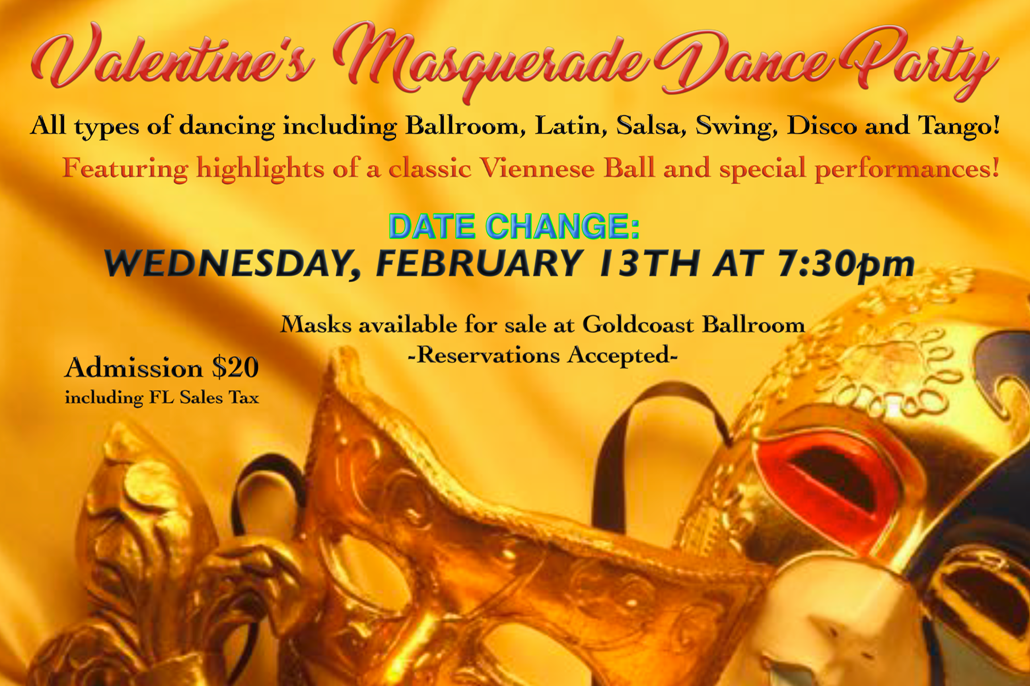 Special Valentine's Masquerade Day Party - Wednesday, February 13 - 7:30 PM