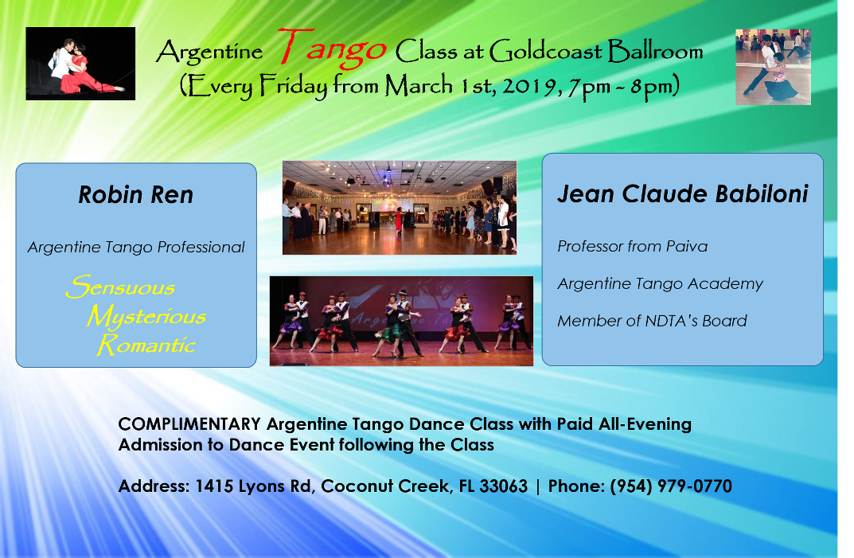 Argentine Tango Classes - Fridays Starting March 1 - with Jean Claude Babiloni & Robin Ren