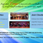 Argentine Tango Classes – Every Friday (7 PM – 8 PM), Starting March 1 – with Jean Claude Babiloni & Robin Ren!! – COMPLIMENTARY WITH PAID ADMISSION TO EVENING SOCIAL DANCE!!