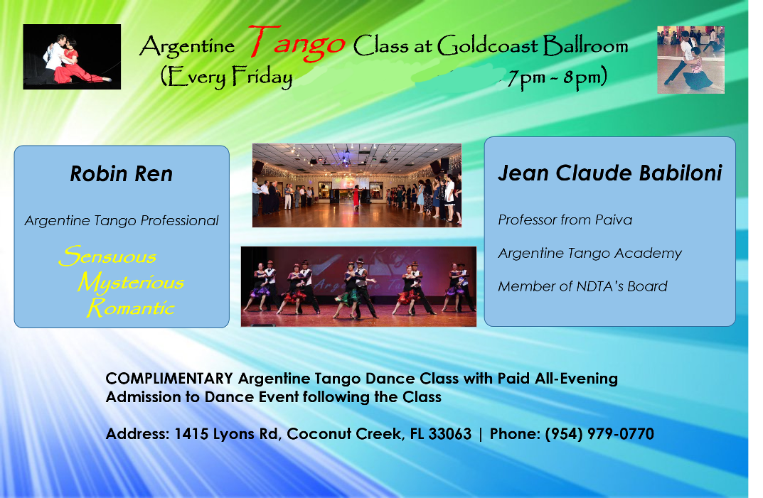 Argentine Tango Classes – Every Friday – 7-8pm - with Jean Claude Babiloni & Robin Ren