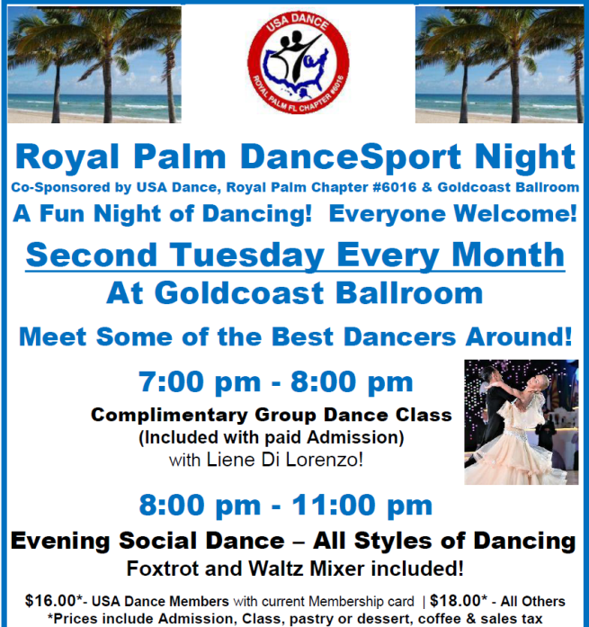 Royal Palm DanceSport Night – Tuesday, April 9 – 8:00 PM – 11:00 PM – Complimentary Class 7 – 8 PM