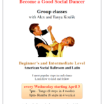 Tango 7-8 pm;  Swing 8-9 pm – Beginner/ Int – Every Wednesday in June – American Social Ballroom & Latin Classes with Alex & Tanya Koulik