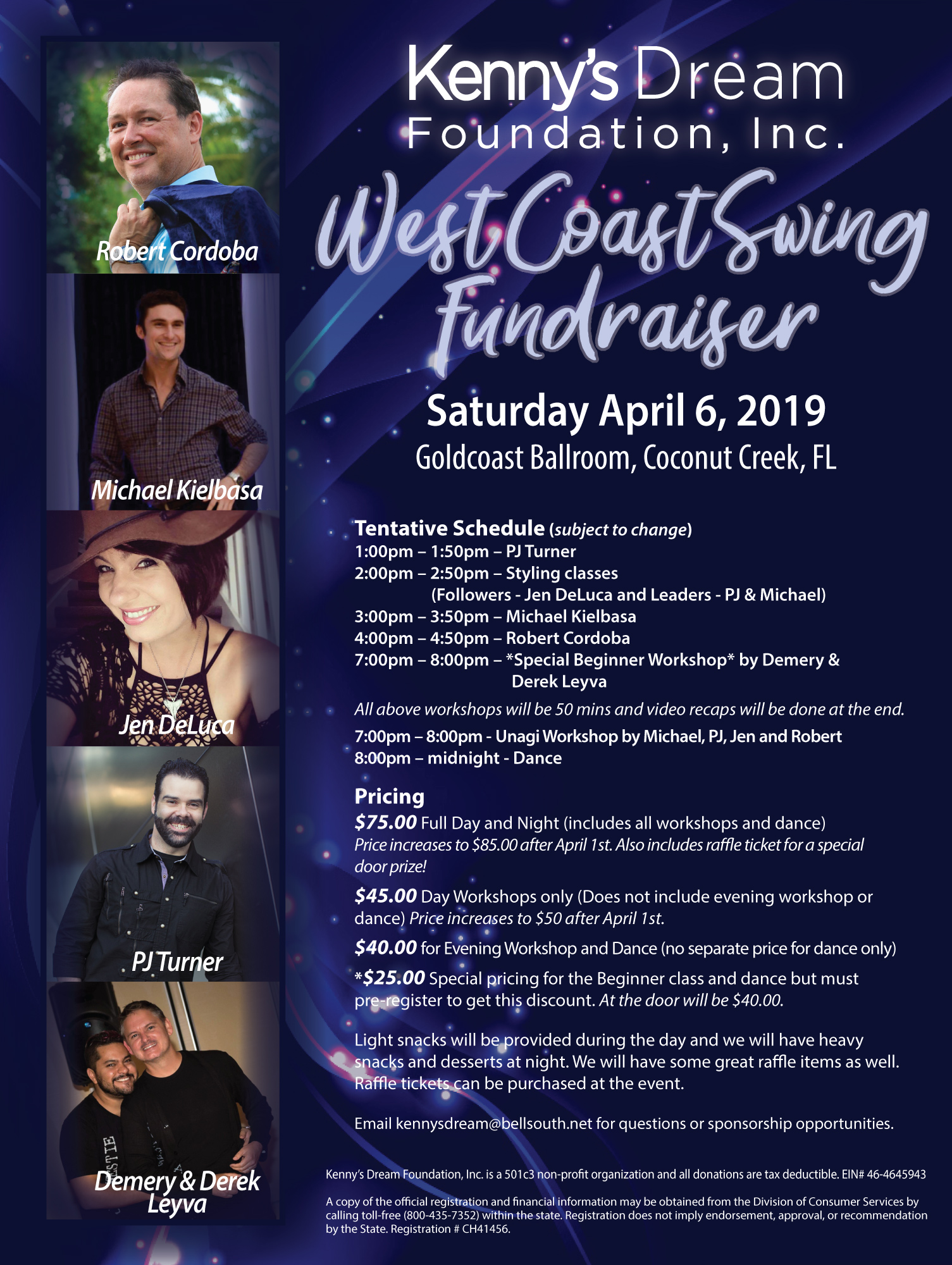 WCS Fundraiser for Kenny's Dream Foundation - Workshops 1 - 8 pm - Dance 8 pm - Midnight - Organized by Dawn Sgarlata