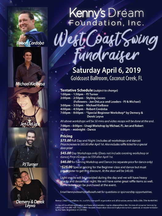WCS Fundraiser for Kenny's Dream Foundation - April 6 - Workshops 1 - 8 pm;  Dance 8 pm to Midnight - Organizedby Dawn Sgarlata