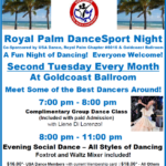 Royal Palm DanceSport Night – Tuesday, March 12 – 8:00 PM – 11:00 PM – Complimentary Class 7 – 8 PM