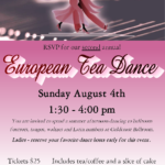 2nd Annual EUROPEAN TEA DANCE! – Sunday, August 4 – 1:30 – 4:00 PM at Goldcoast Ballroom – $25.00