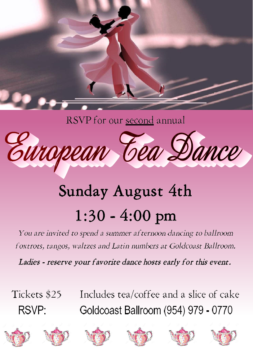 European Tea Dance - August 4, 2019 - 1:30 PM - 4:00 PM
