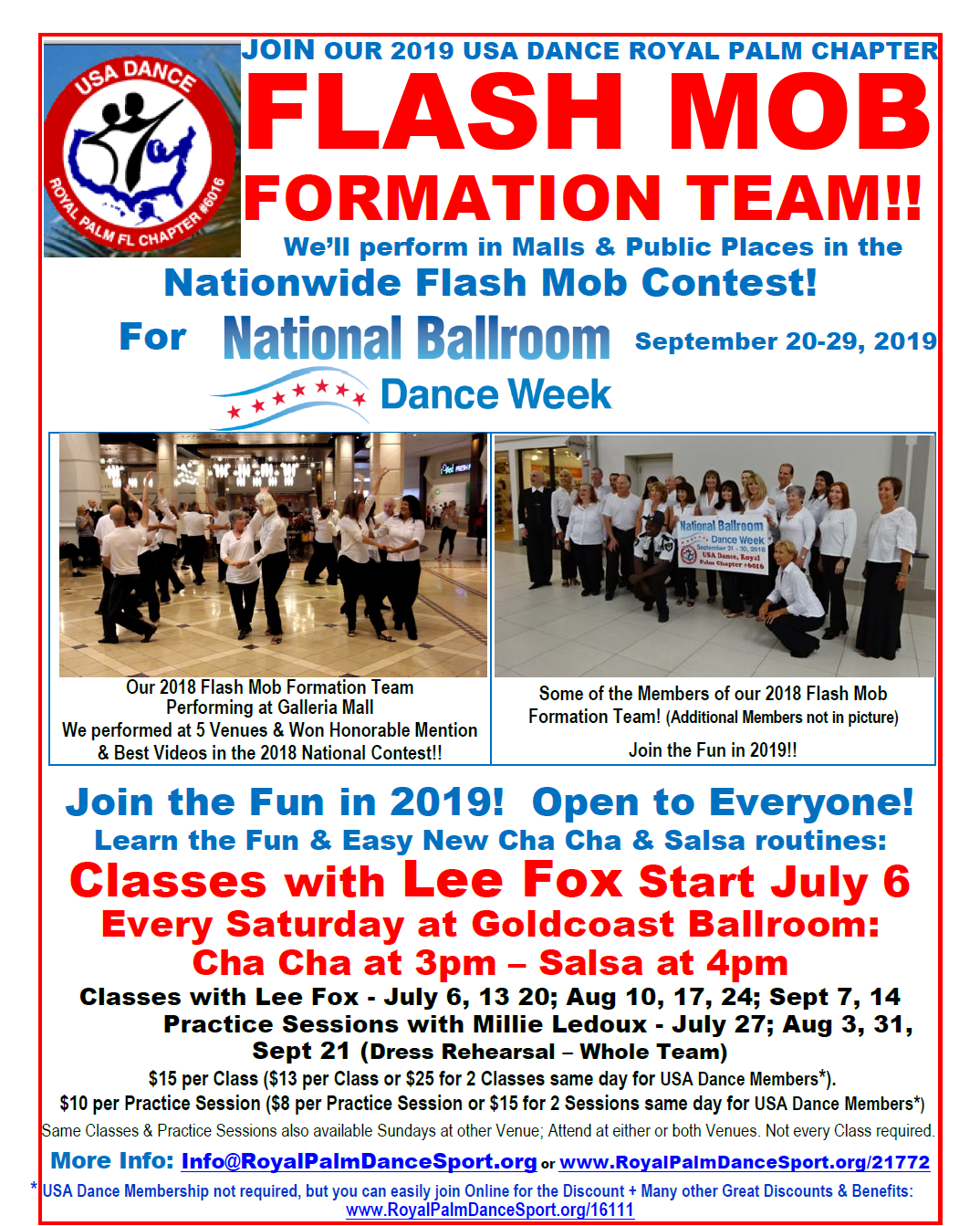 FLASH MOB Formation Team Classes - Every Saturday Afternoon at Goldcoast Ballroom! - Join the Fun! Join our Team in the National Flash Mob Contest!!