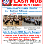 FLASH MOB Formation Team Classes! with Lee Fox – Saturdays at Goldcoast Ballroom! – 3pm Cha Cha – 4pm Salsa – Dress Rehearsal Saturday, Sept 21 – 11:30 AM – Perform in 3 Malls Saturday, September 21 for National Ballroom Dance Week! – Join the Fun!! – Everyone Welcome to Come!!