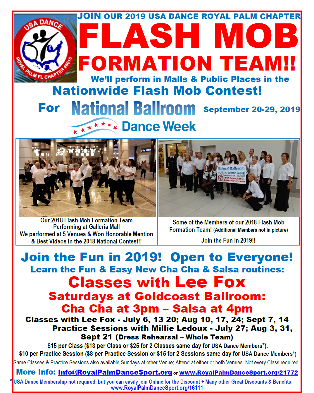 Join our Flash Mob Formation Team! - Classes with Lee Fox - Saturdays at Goldcoast Ballroom