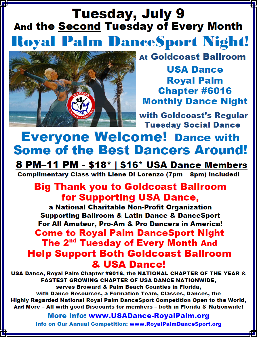 USA Dance Royal Palm DanceSport Night at Goldcoast Ballroom - 2nd Tuesday of each Month