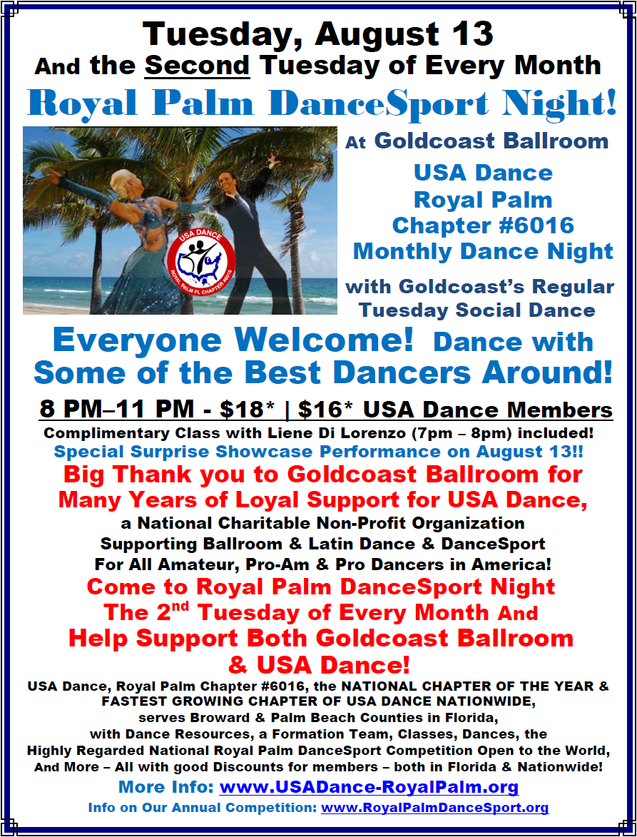 USA Dance, Royal Palm DanceSport Night - Tuesday, August 13 at Goldcoast Ballroom!!