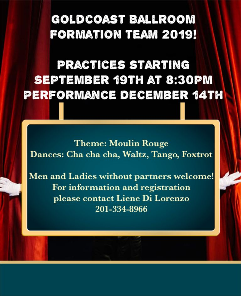 2019 Goldcoast Ballroom Formation Team - Classes Start September 19