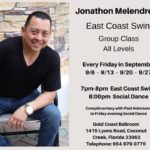 East Coast Swing – All Levels – with Jon Melendrez – Every Friday in September – 7pm – 8pm – Complimentary with paid Admission to Friday Evening Dance