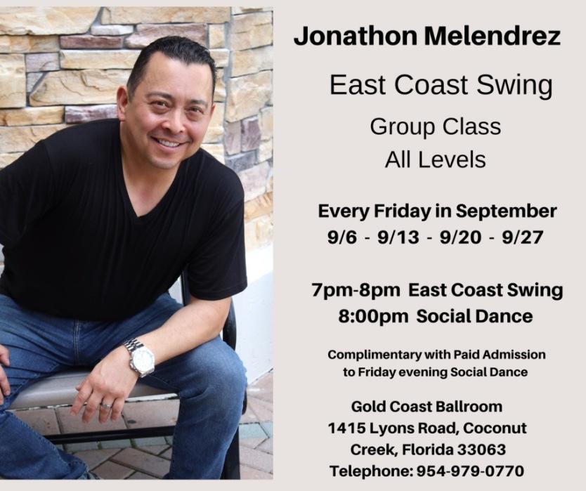 Jon Melendrez teaches East Coast Swing - Every Friday in September, 2019 - 7pm - 8pm