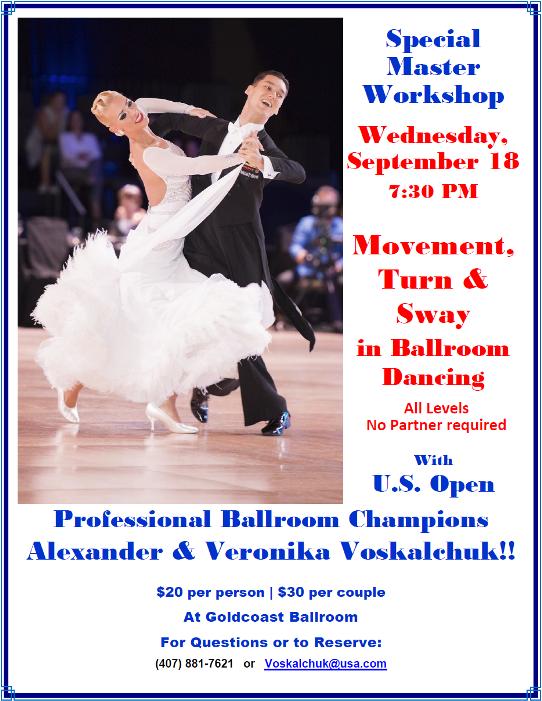 Master Workshop - Movement, Turn & Sway in Ballroom Dancing - with Alexander & Veronika Voskalchuk! - September 18, 2019