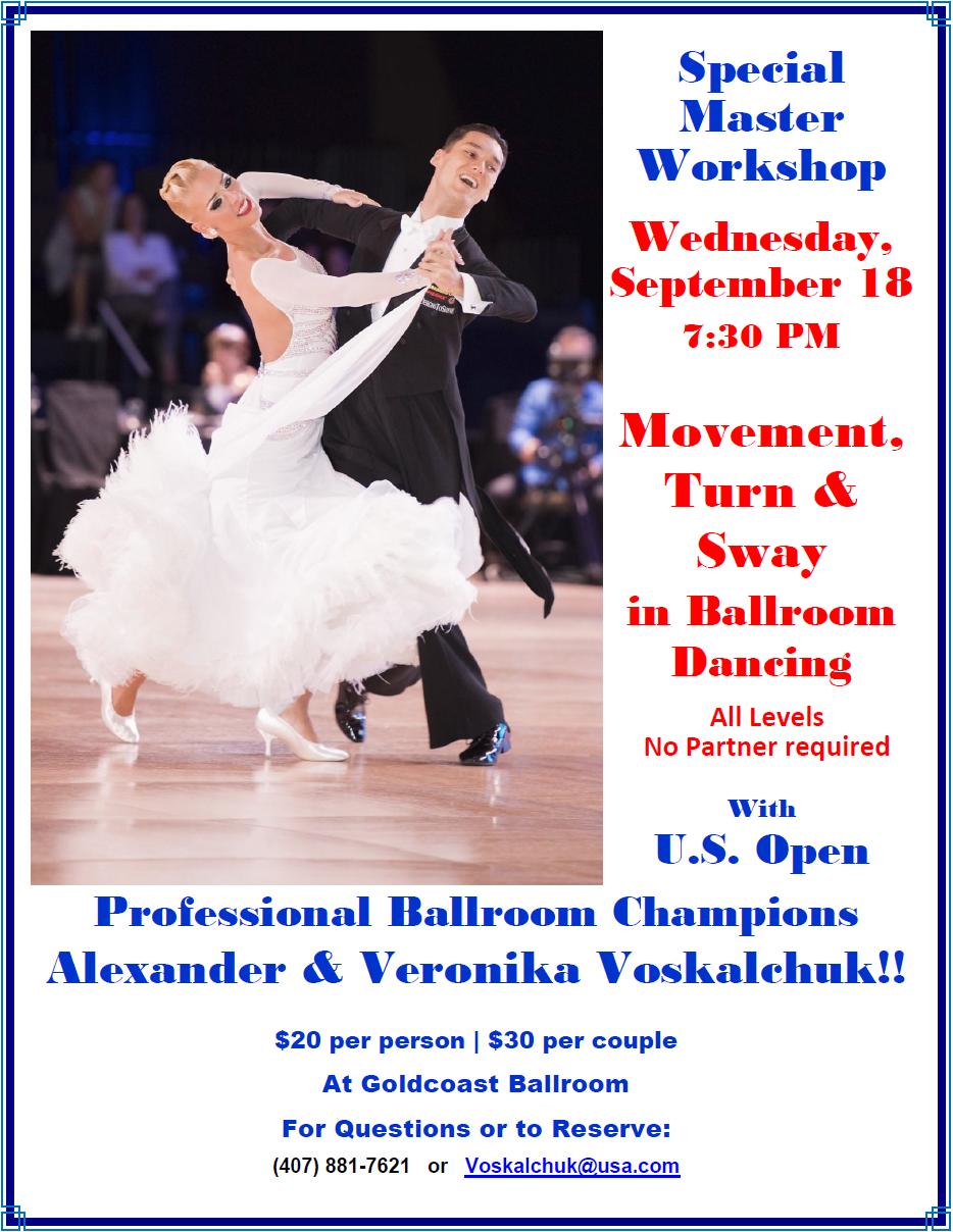 Master Workshop - Move, Turn & Sway in Ballroom Dancing - with Alexander & Veronika Voskalchuk! - September 18, 2019