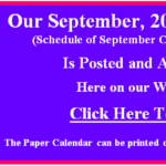 Our September 2019 Calendar of Classes & Events is Posted.  Go to our Calendar page for September