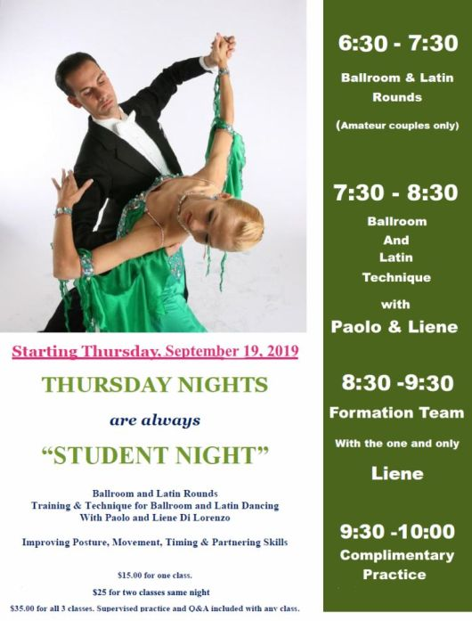 Thursday Nights - Starting Sept 19, 2019 - Student Night with Paolo & Liene Di Lorenzo