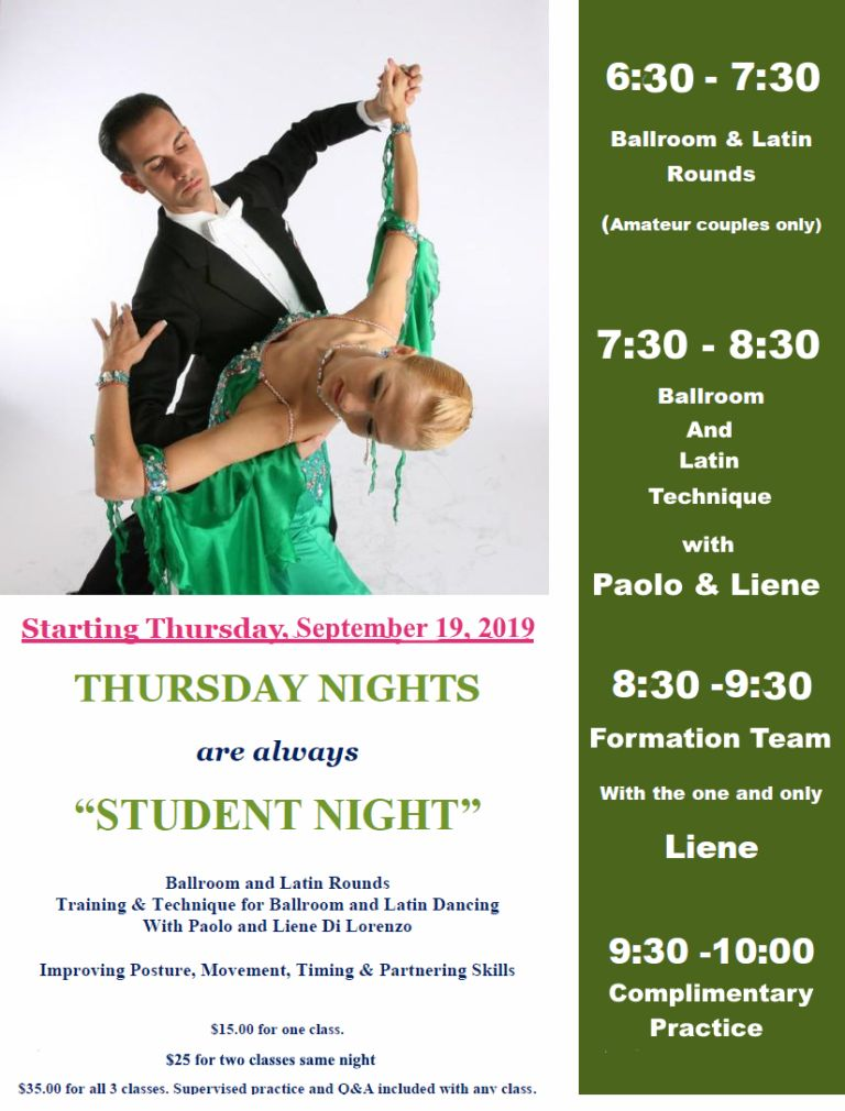 Thursday Nights - Starting Sept 19, 2019 - Student Night with Paolo & Liene Di Lorenzo!