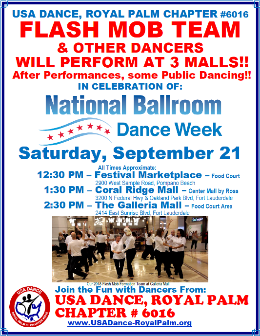 USA Dance, Royal Palm Chapter Flash Mob Formation Team - Performing at 3 Malls - September 21, 2019