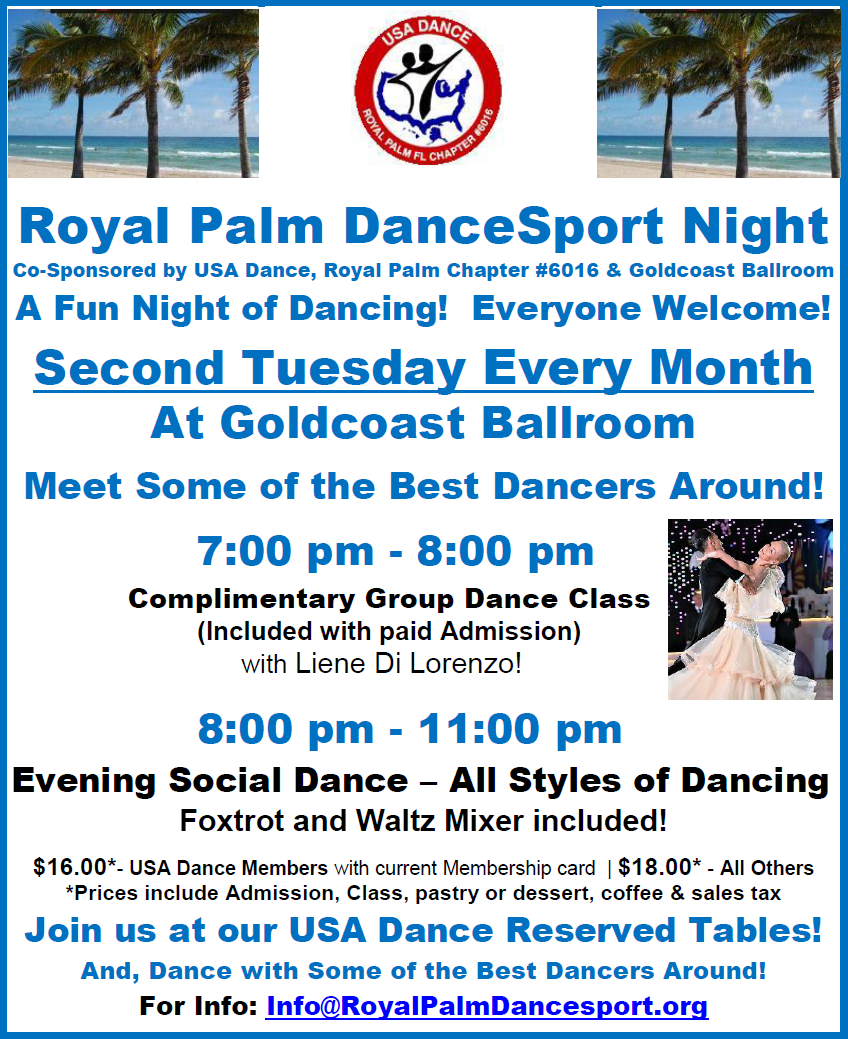 USA Dance, Royal Palm DanceSport Night at Goldcoast Ballroom - Open to Everyone! - Dance with Some of the Best Dancers Around!