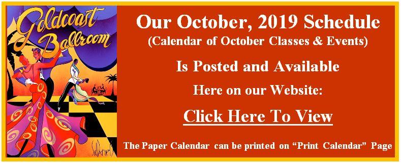 October, 2019 Calendar Posted