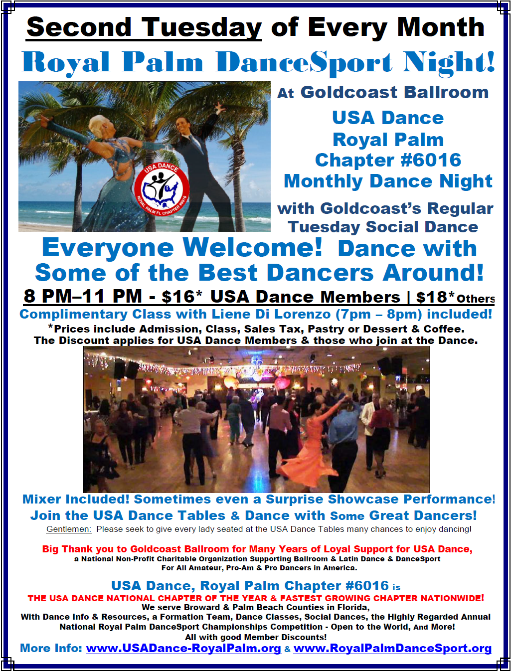 USA Dance, Royal Palm Chapter Monthly Dance - 2nd Tuesday of Each Month at Goldcoast Ballroom
