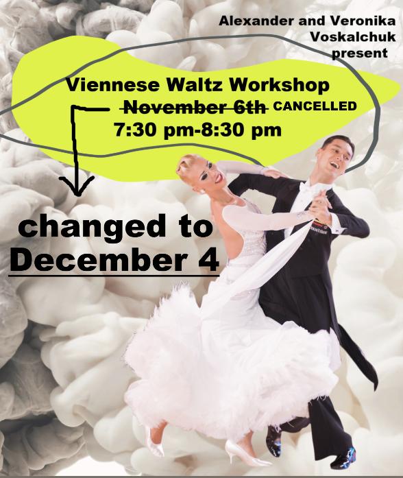 Viennese Waltz Workshop with Alexander & Veronika Voskalchuk - Changed to December 4