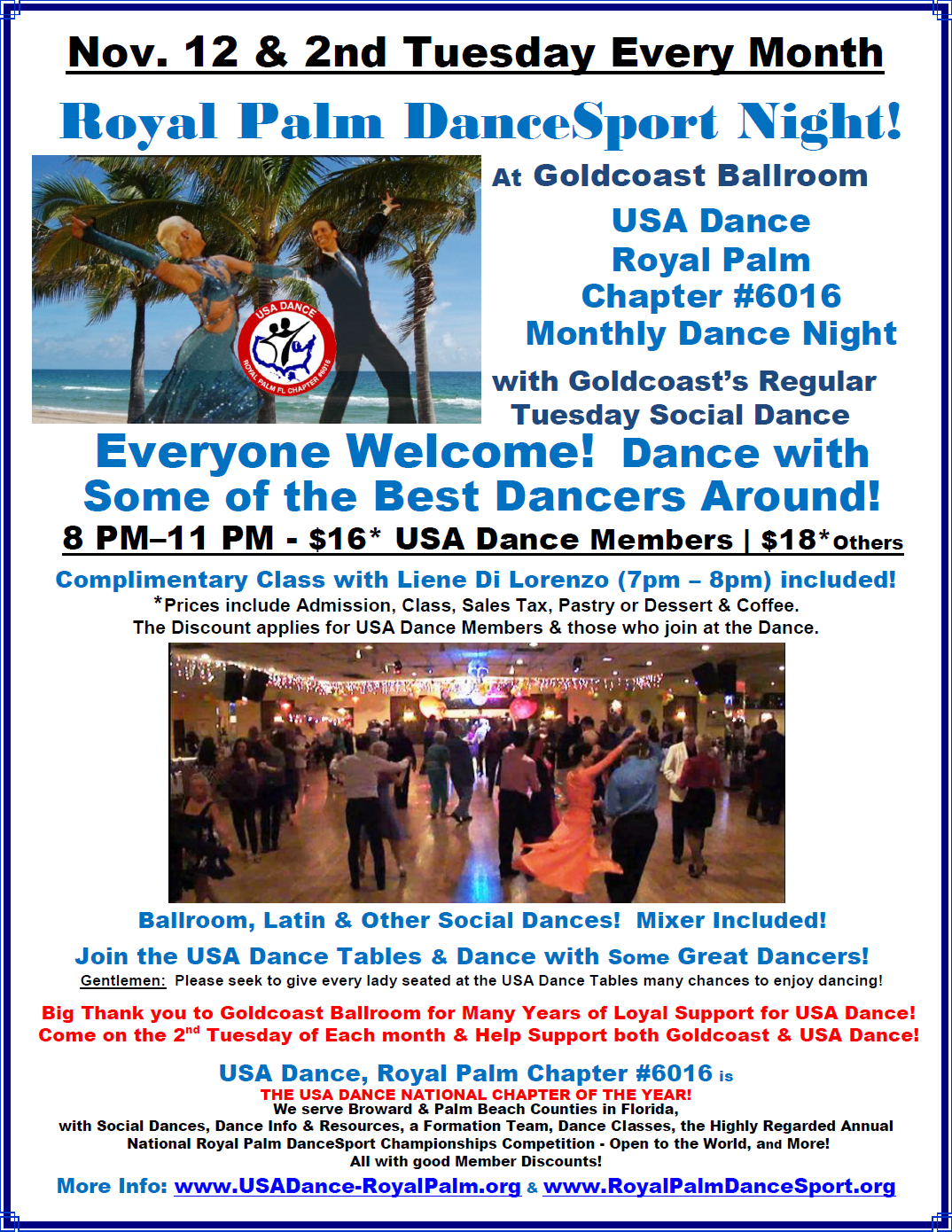 November 12, 2019 - Royal Palm Chapter Dance at Goldcoast Ballroom!
