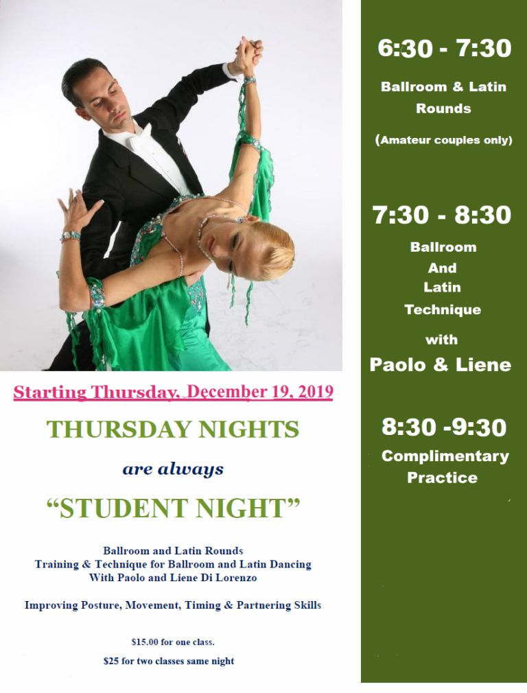 Thursday Nights - Starting Dec 19, 2019 - Student Night with Paolo & Liene Di Lorenzo